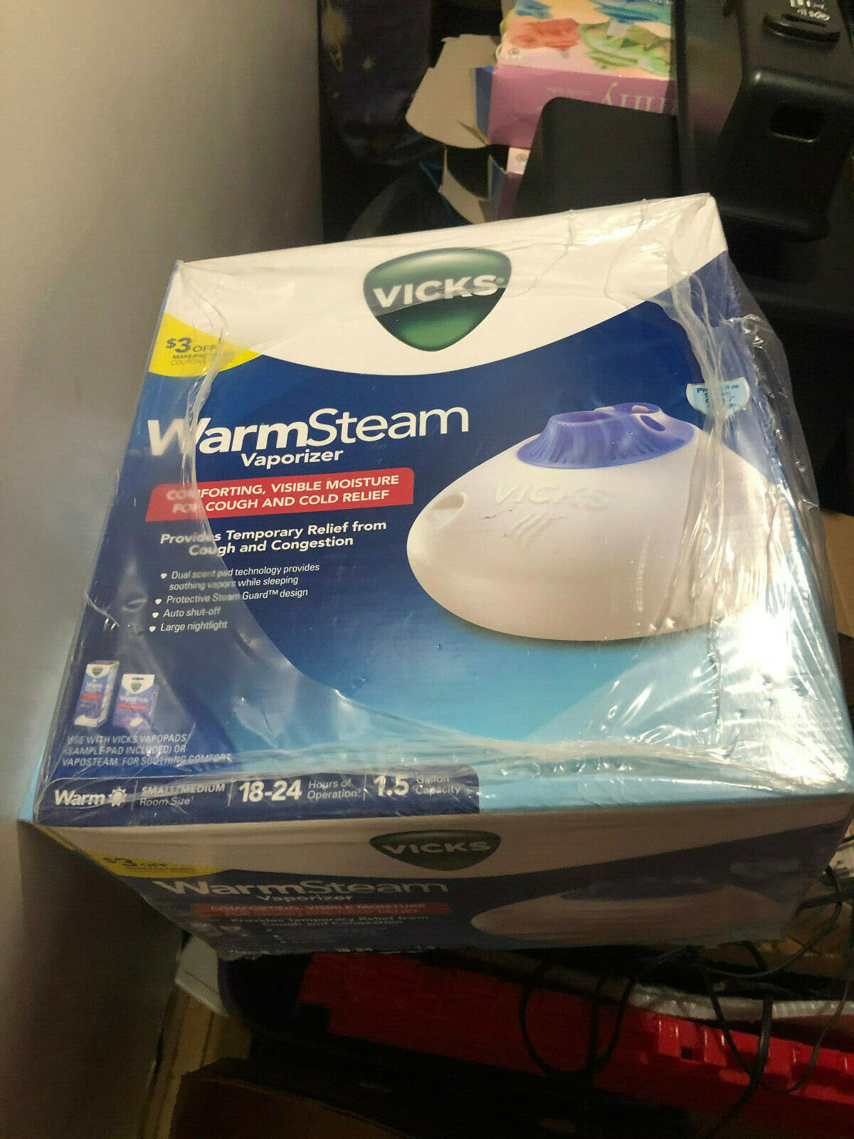 Vicks Kaz V150SGNL Warm Steam Vaporizer Nightlight 1.5 Gallon – Kids – Children