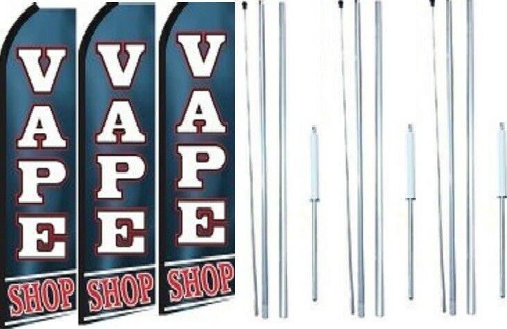 Vape Shop Swooper Flag With Complete Hybrid Pole set- 3 pack